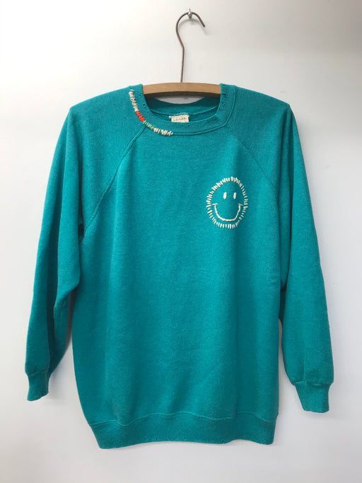 Happy Face Rainbow Sweatshirt | Teal Green