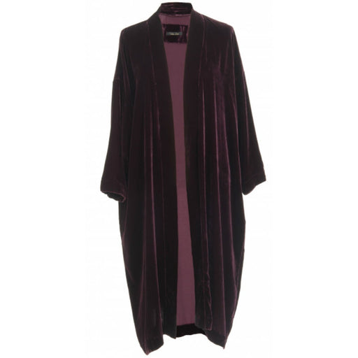 Aubergine coloured silk velvet kimono worn open.