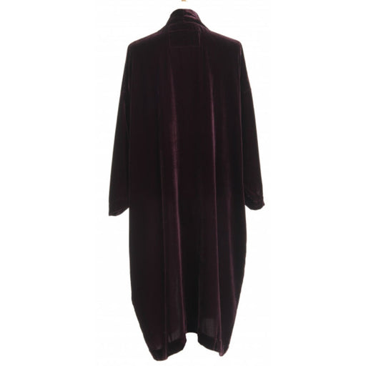 Back of Aubergine coloured silk velvet kimono.