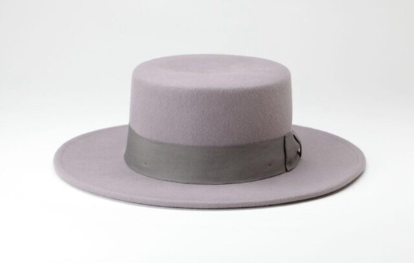 100% grey wool felt boater Hat