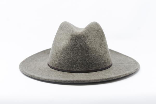 100% grey wool hat with leather trim.