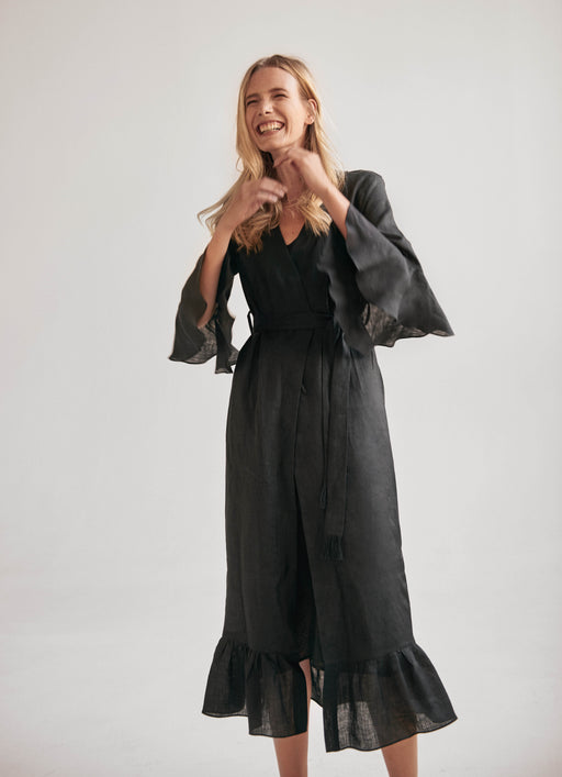 100% linen black robe/wrap dress.