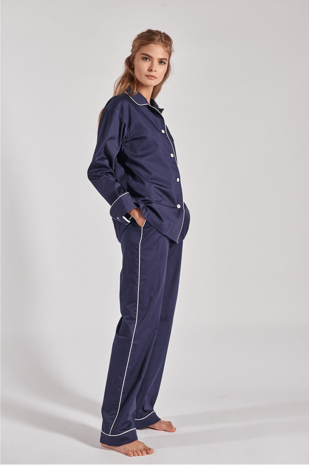 100% royal blue with white piping  cotton shirt and pants pajama set