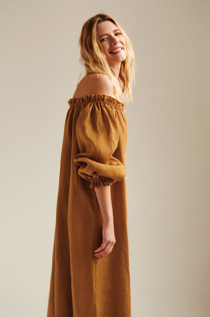 100% linen dijon orange off-the-shoulder dress.