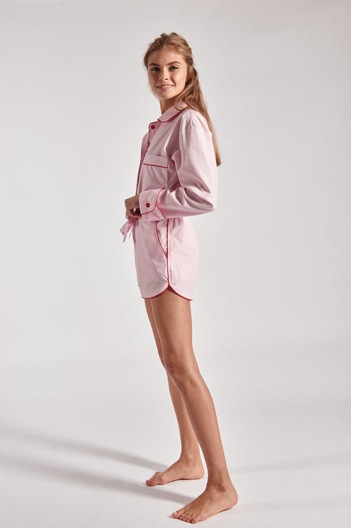 100% cotton pink and red piped Shirt and shorts pajama set.