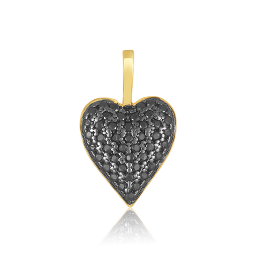 Dual Sided Heart Charm | Gold/Black Diamonettes