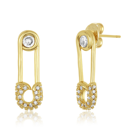 Safety Pin Studs- Gold / White Simulated Diamond