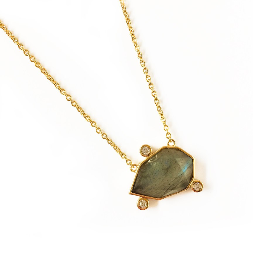 14k gold plated Brass base necklace with faceted labradorite gem