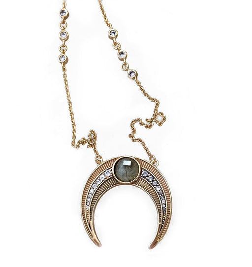 Labradorite gemstone between rows of pink and grey enamel, in a crescent shape.