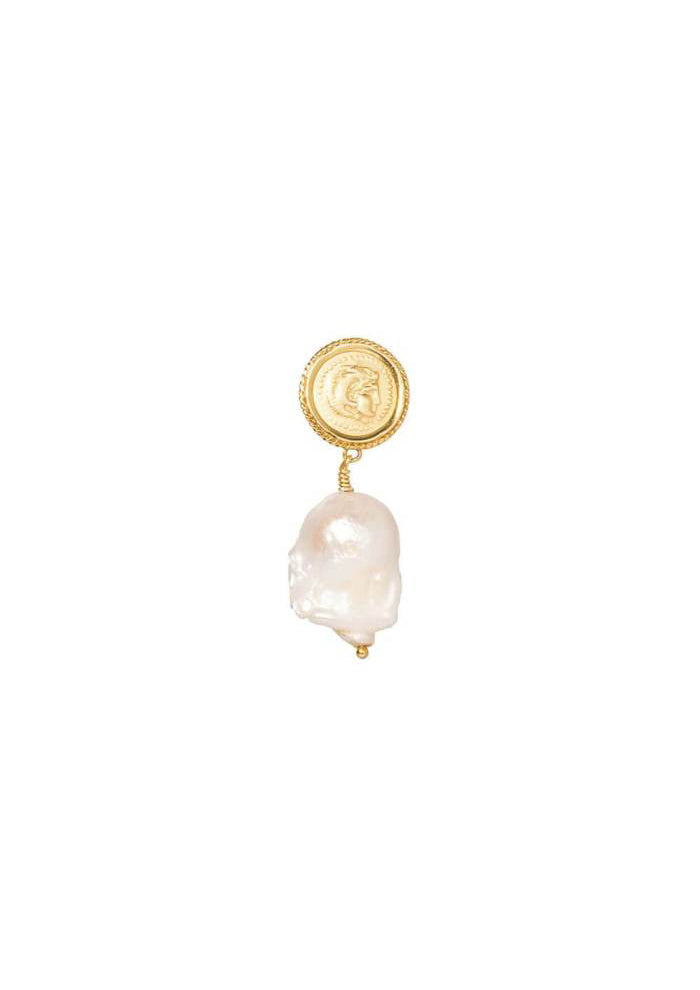 Hercules Lost Sea Pin Earrings | Gold / Pearl