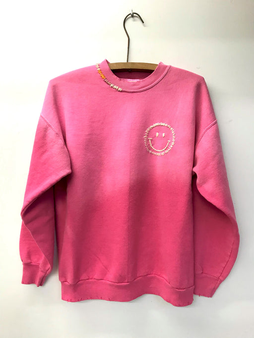 Happy Face Sweatshirt | Bubblegum