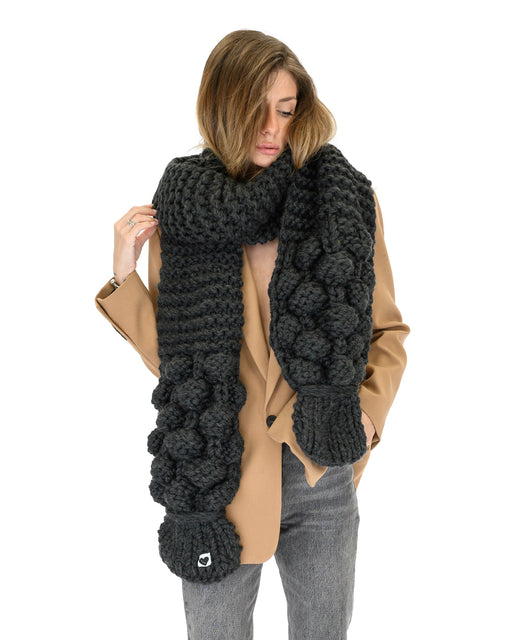 Bubble Ribbed Scarf | Dark Grey
