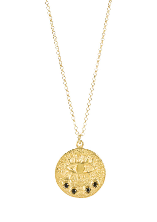 Beautiful gold plated necklace featuring evil eye medallion on a small medallion with black cz stones.