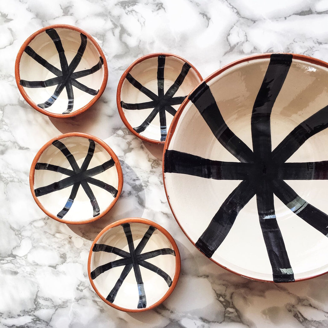 Wheel-thrown & hand painted sturdy terracotta salad bowl