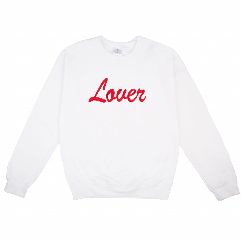 White crew neck sweater with embroidered LOVER feature
