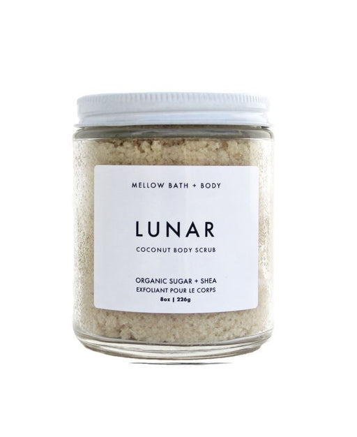 Organic ­­cane sugar and coconut flakes combine to gently exfoliate and polish the skin. Raw shea butter, organic coconut oil, and sunflower seed oil moisturize and nourish, leaving you with soft and smooth skin. Left unscented for sensitive skin types.