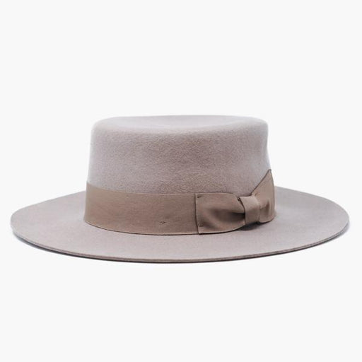 "100% wool felt boater Hat Handcrafted with a high crown and medium stiff brim 1"" grosgrain ribbon crown band."