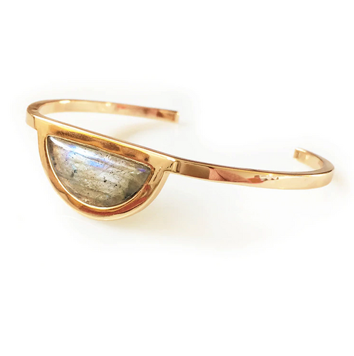 14k gold plated brass cuff bracelet with Labradorite gemstone