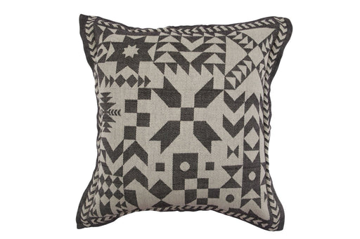 Unique cotton jacquard cushion cover inspired by patchwork of a by gone era.