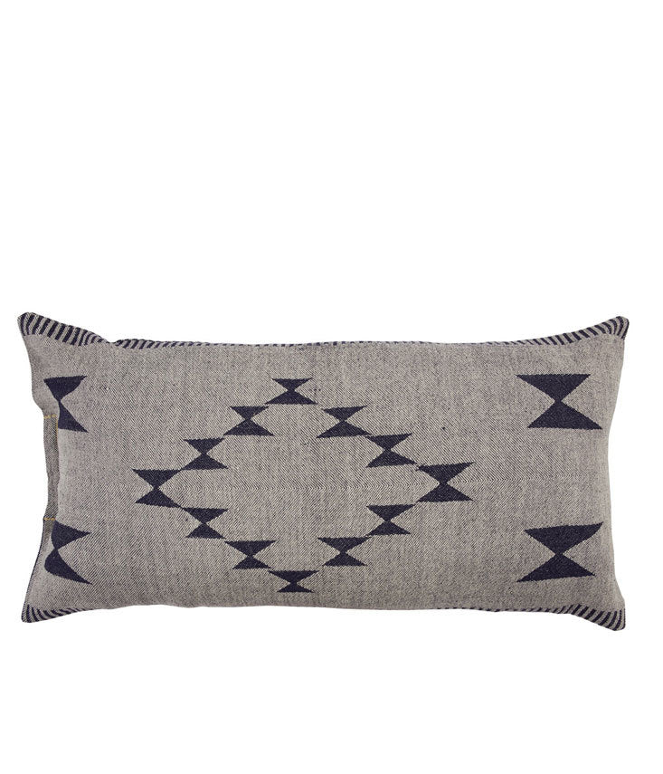 Double-sided rectangular cushion cover with woven jacquard stripe.