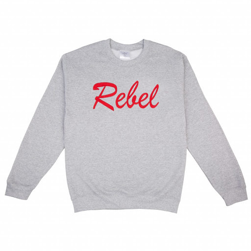 grey crew neck sweater with bold cherry red REBEL embroidery.