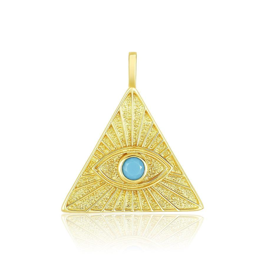 Big All Seeing Eye Charm | Gold/Turquoise