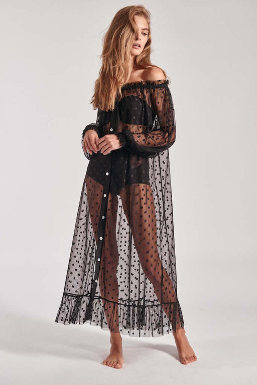 Black Sheer Swiss dot mesh lounge dress with off the shoulder sleeves.