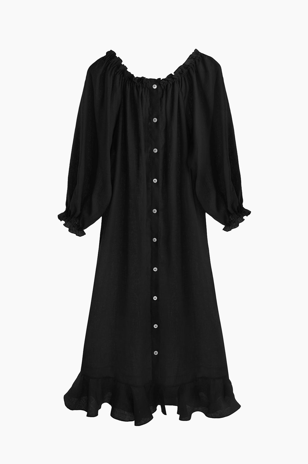 100% linen black off-the-shoulder dress.