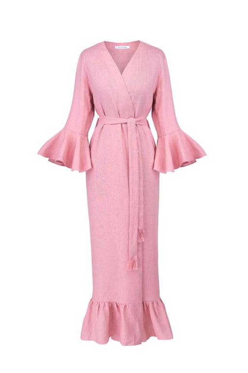 100% linen pink robe/ wrap dress