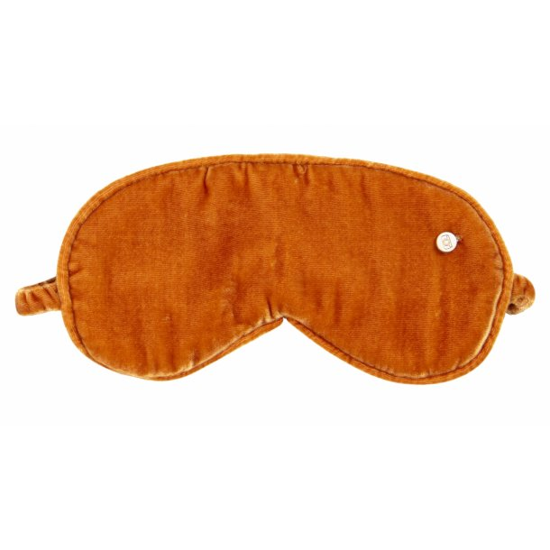 Cayenne coloured silk velvet sleeping mask.