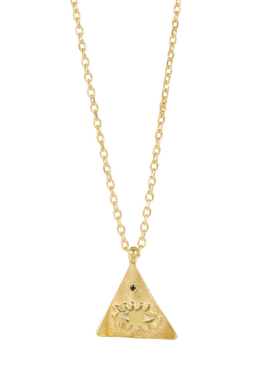 Beautiful gold plated necklace featuring evil eye medallion on a small Pyramis in various gemstone colors.