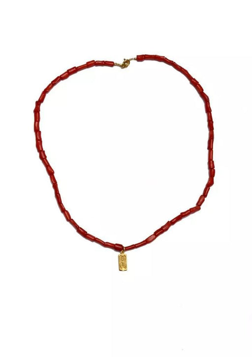 Hermina Evil Eye Tag Necklace | Coral