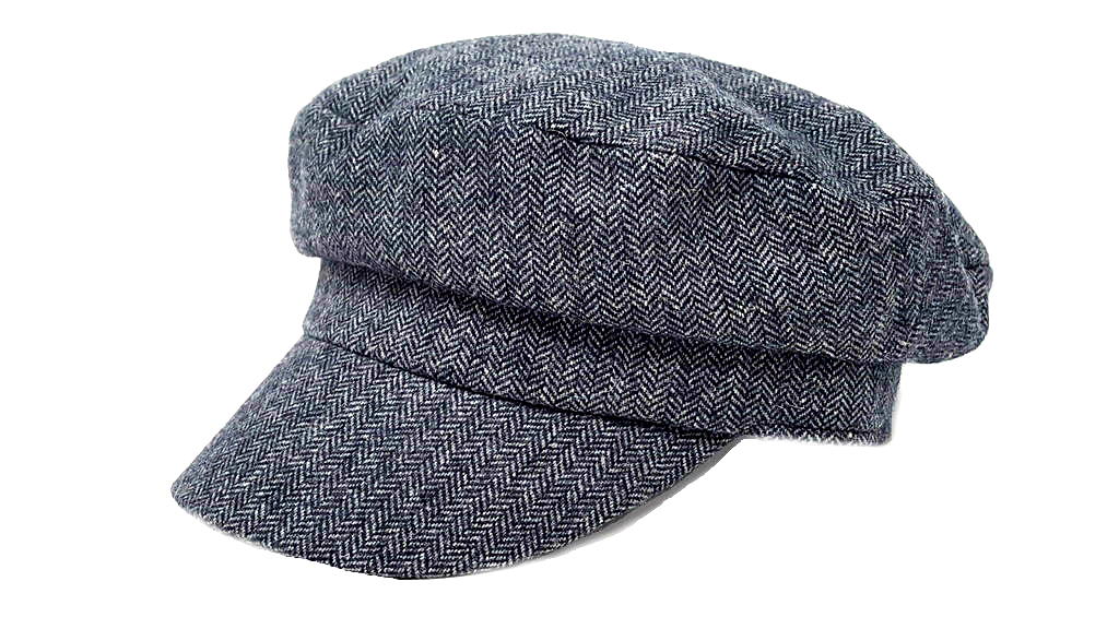 sea captain's vintage fisherman's cap, herringbone grey.