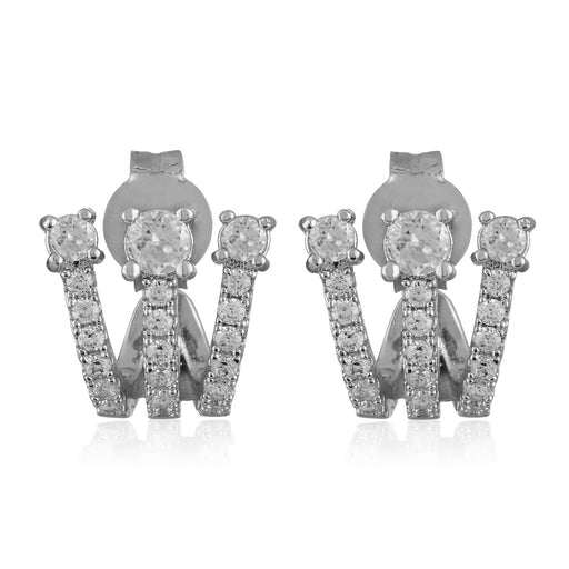 Katherine Ear Huggies - Silver / White Diamondettes