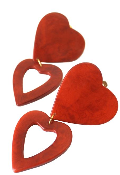 Heart Earrings | Red