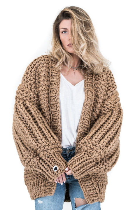 Camel over sized handmade knit that comes with balloon style sleeves