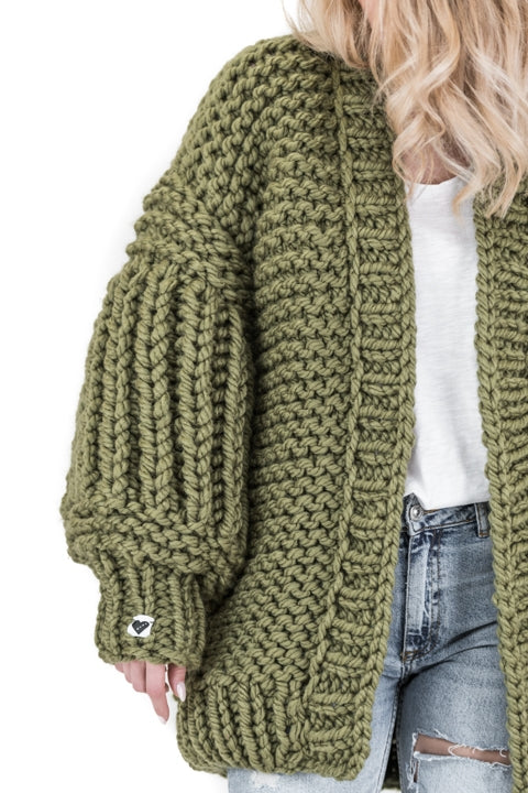 Olive green over sized handmade knit that comes with balloon style sleeves