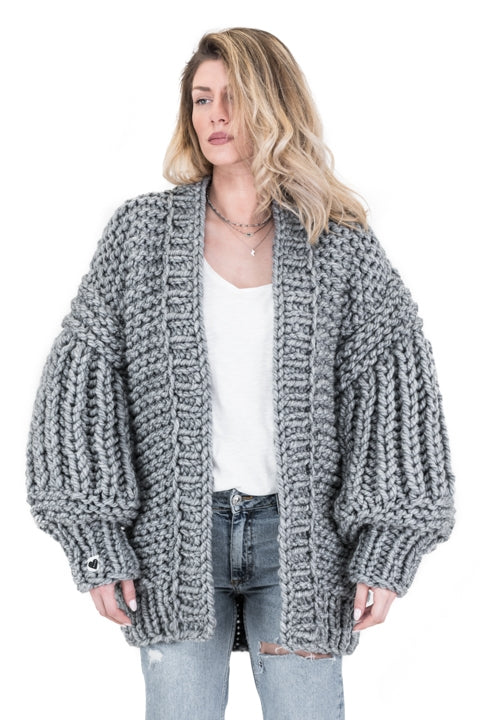 Grey over sized handmade knit that comes with balloon style sleeves