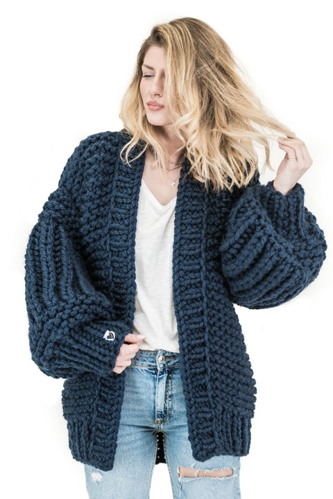 Royal Blue over sized handmade knit that comes with balloon style sleeves