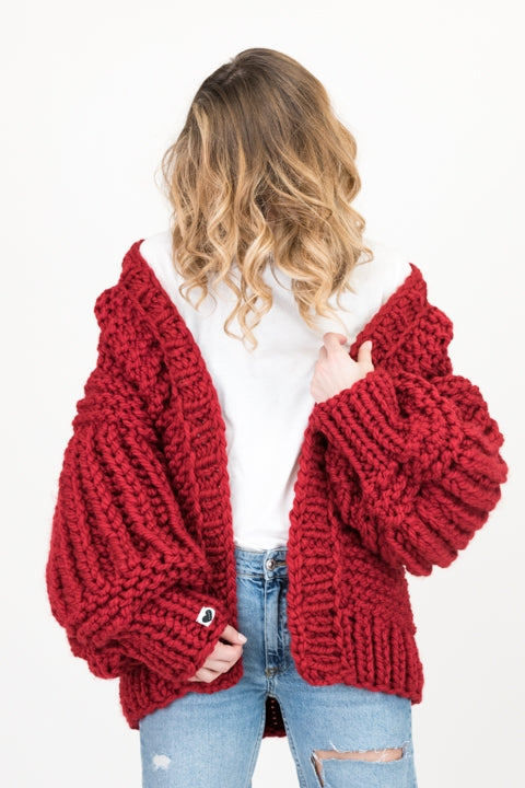 Ruby red over sized handmade knit that comes with balloon style sleeves