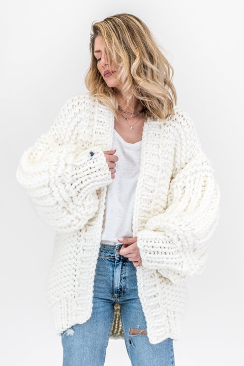 White over sized handmade knit that comes with balloon style sleeves
