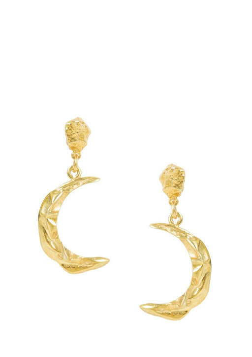 Hermina Athens Melies Moon Earrings Gold Plated stirling silver