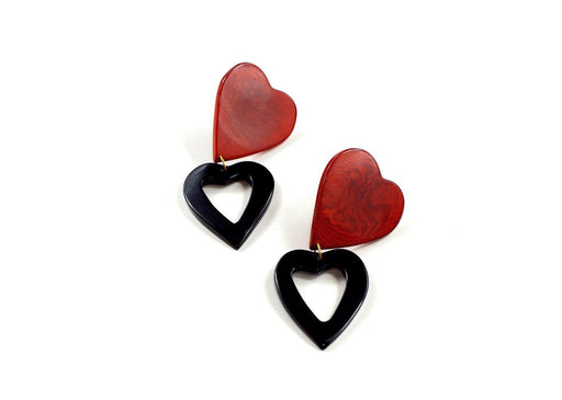 Heart Earrings | Red / Black