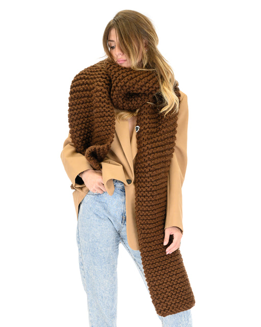 Straight Ribbed Scarf | Brown