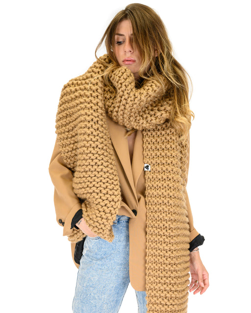Straight Ribbed Scarf | Camel