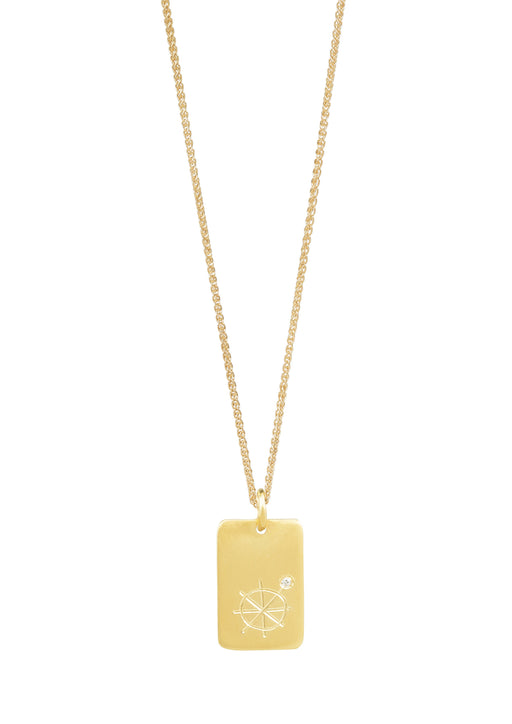 Gold plated chain and tile with an engraved tarot sign of the Wheel of Fortune, and a crystal clear gemstone.
