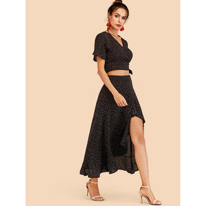Knot Side Spot Crop Top With Ruffle Hem Skirt 2piece - The Voyage Collection