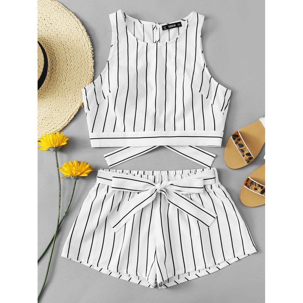 Vertical Striped Crop Top And Self Belt Shorts Set 2piece - The Voyage Collection