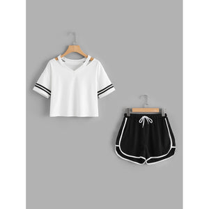 Stripe Sleeve Top & Drawstring Contrast Trim Shorts 2piece - The Voyage Collection