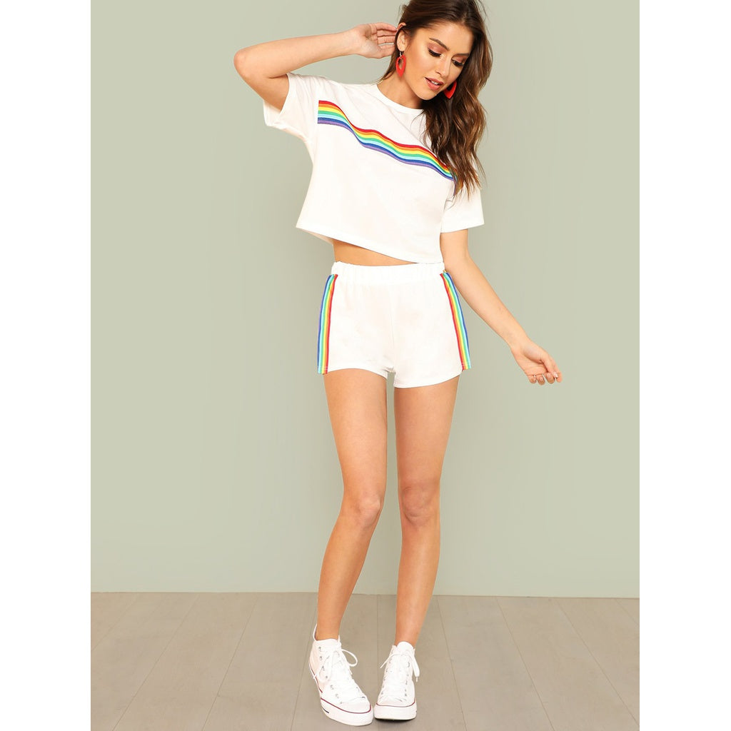 Rainbow Print Tee & Shorts Set 2piece - The Voyage Collection